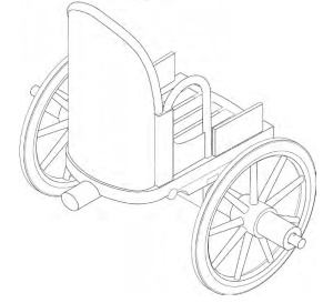 Example of Etruscan two-wheeled war chariot (Drawing: Dalia Lamura under thedirection of Adriana Emiliozzi)